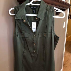 Silk olive green shirt
